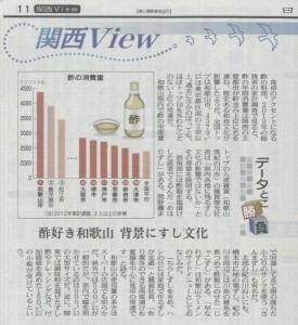 【食酢】和歌山市は、酢の消費量が全国1番!日本経済新聞の取材を受けました。の画像
